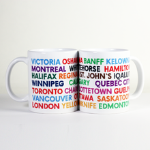 Load image into Gallery viewer, mug with names of Canadian towns and cities written in colourful font