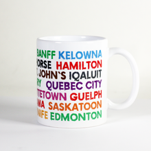 Load image into Gallery viewer, celebrate canada day with this bright and vibrant cup with names of canadian places