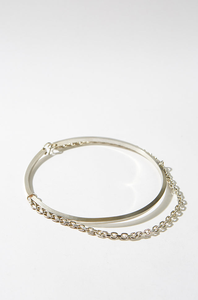 Sterling Silver Square Wire Choker With Chain, CC Steding - SWIM XYZ
