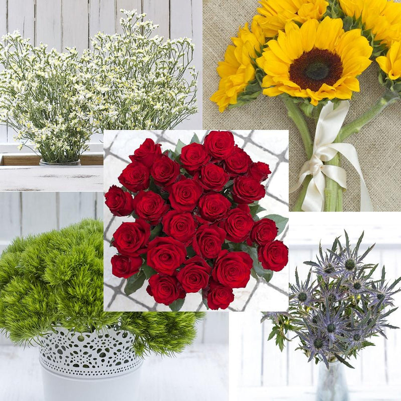 Premium Roses, Limonium, Dianthus Green Wicky, Sunflowers and Eryngium Mix Box