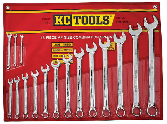 KC Tools A13342 16 PIECE AF COMBINATION SPANNER SET