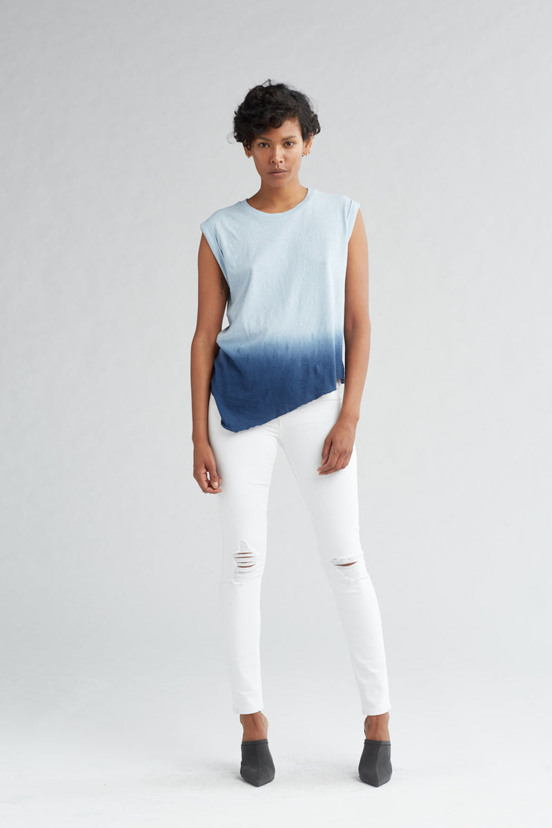 ROLLED SLEEVE TANK - NAVY OMBRE - Image 1