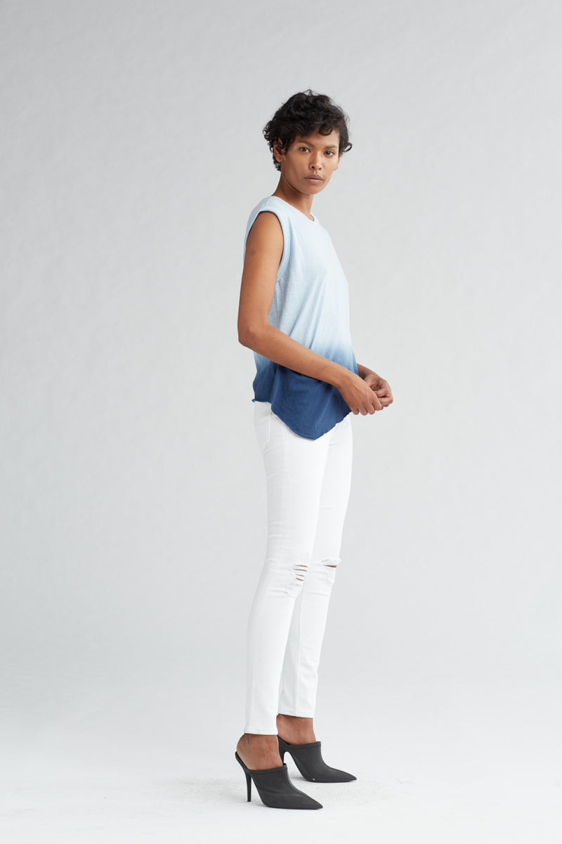 ROLLED SLEEVE TANK - NAVY OMBRE - Image 2