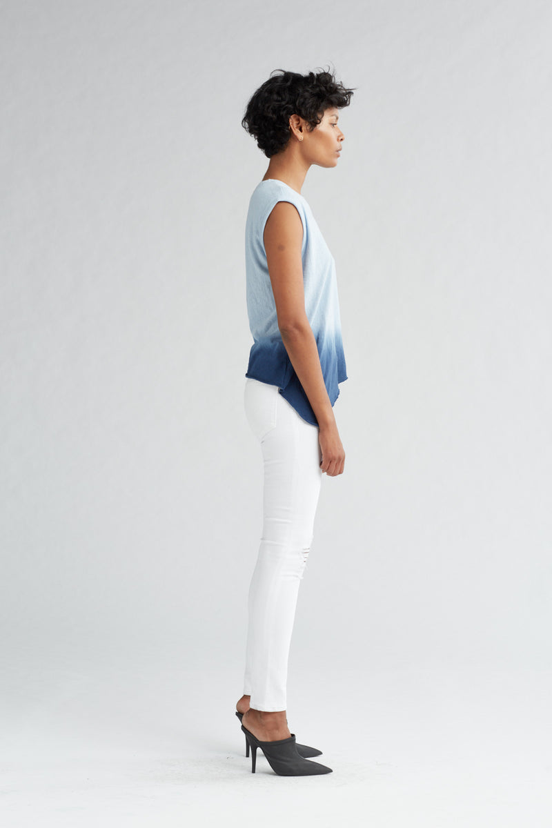 ROLLED SLEEVE TANK - NAVY OMBRE - Image 3