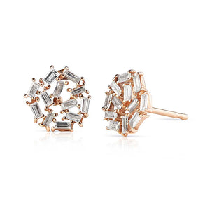 Baguette Diamond and Rose Gold Studs