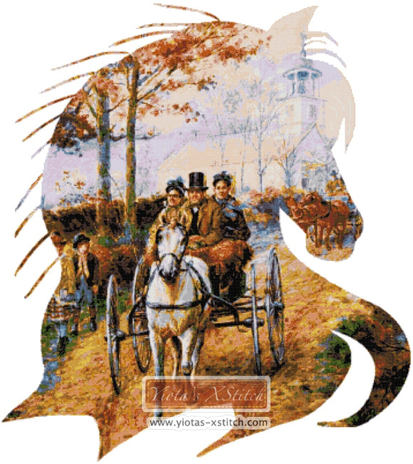 Carriage ride (v2) counted cross stitch kit