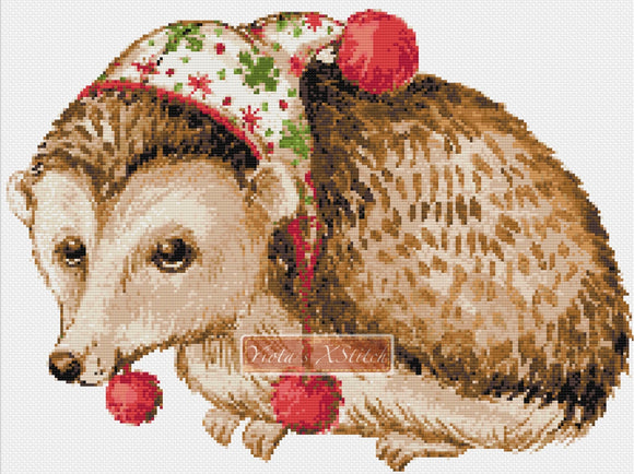 Christmas hedgehog counted cross stitch kit