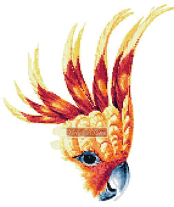 Cockatoo face, parrot counted cross stitch kit