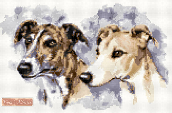 Greyhound pair counted cross stitch kit