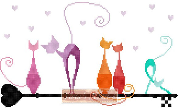 Key cats counted cross stitch kit