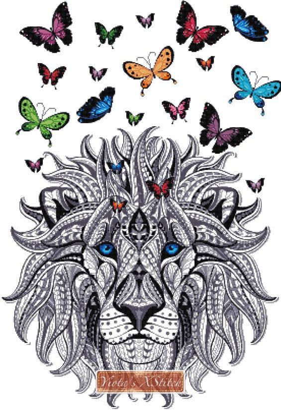 Lion with butterflies counted cross stitch kit