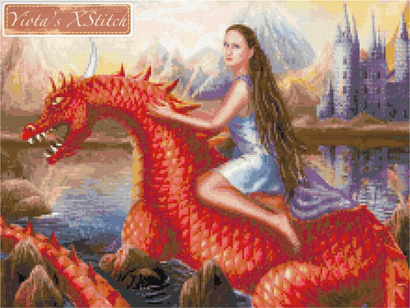 Red dragon, fantasy counted cross stitch kit