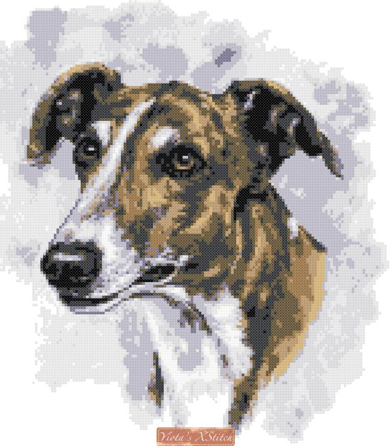 Brindle greyhound counted cross stitch kit