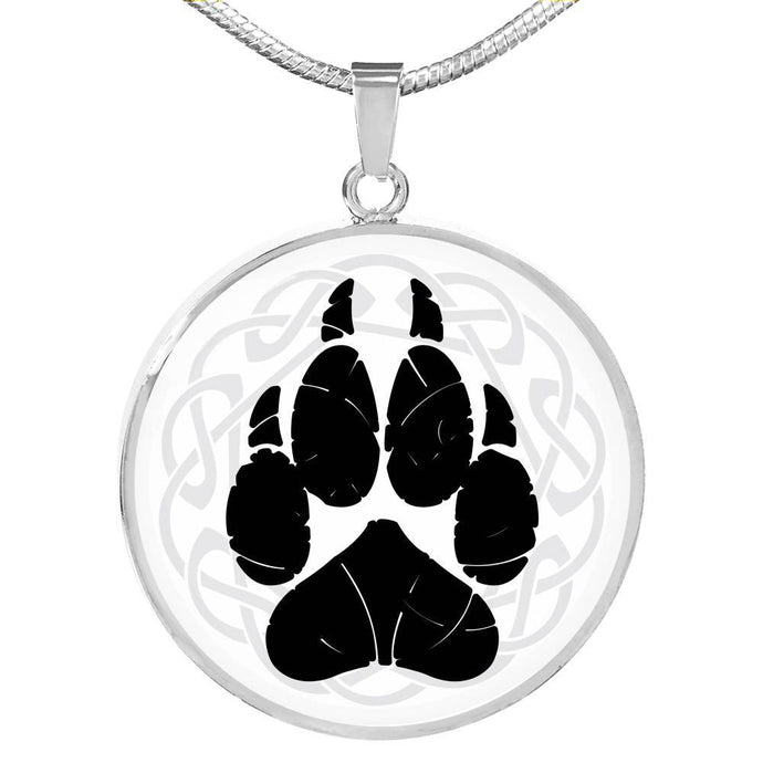 Norse Wolf Paw Circle Necklace Jewelry