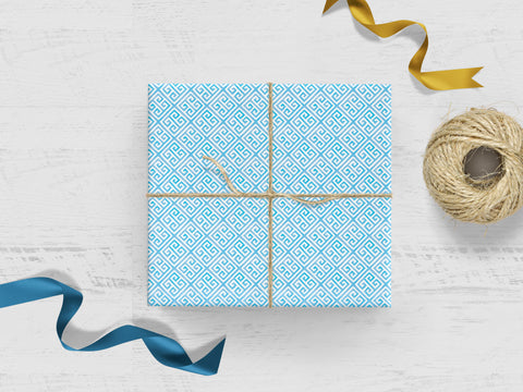 Blue Greek Key Gift Wrap