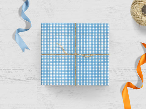 Blue Gingham Gift Wrap