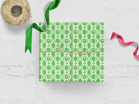Green Flamingo Trellis Gift Wrap