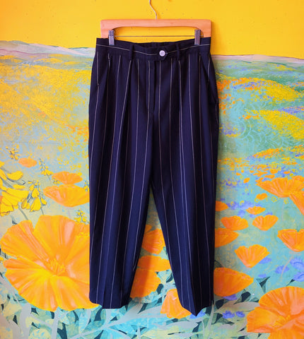 Black & White Pinstripe Escada Pants. Sold exclusively at Empress Vintage in Berkeley, CA.