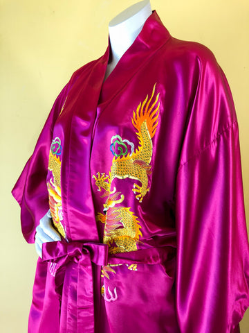 Silk Magenta Chinese Dragon Robe sold exclusively at Empress Vintage in Berkeley, CA.