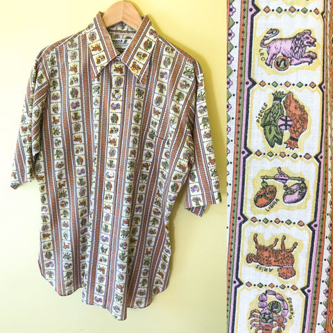 Men's Zodiac Button Up 1970's Shirt. Sold in excellent condition at Empress Vintage in Berkeley, CA