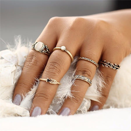 Hollow Lotus Knuckle Ring Set