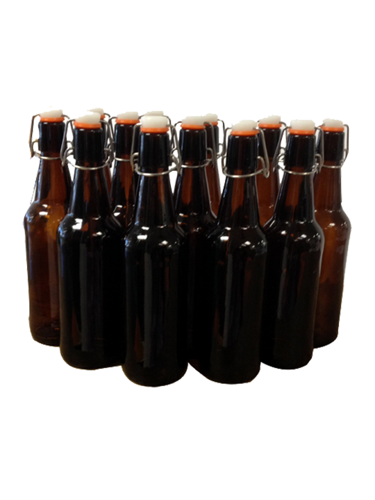 Amber Flip Top Bottles, 500 ml - Case/12