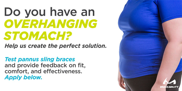 Pannus sling brace new design for overhanging stomach product advisory