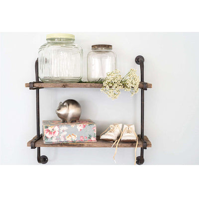 Rustic Industrial Shelf with Wood Planks
