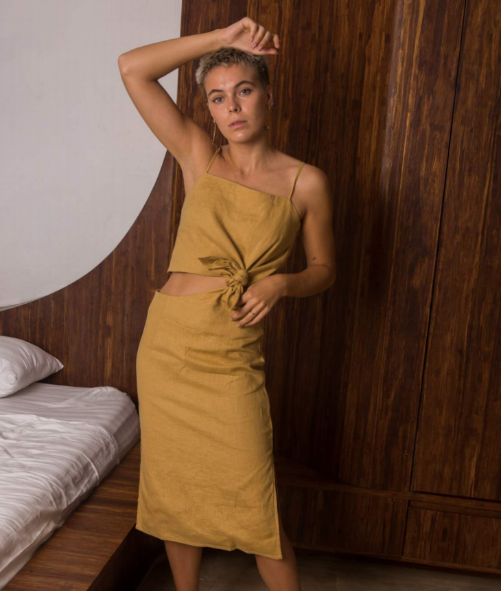 Knotted Skirt in Ochre