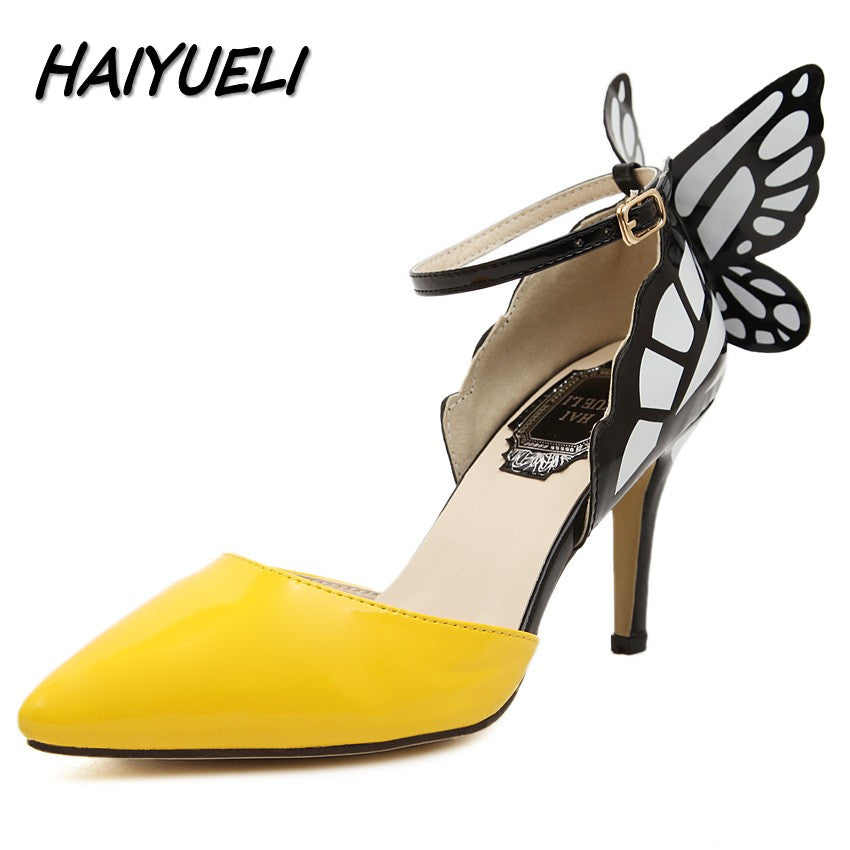 Women's Dream Butterfly Fashioned Pointed Toe Buckle High Heel