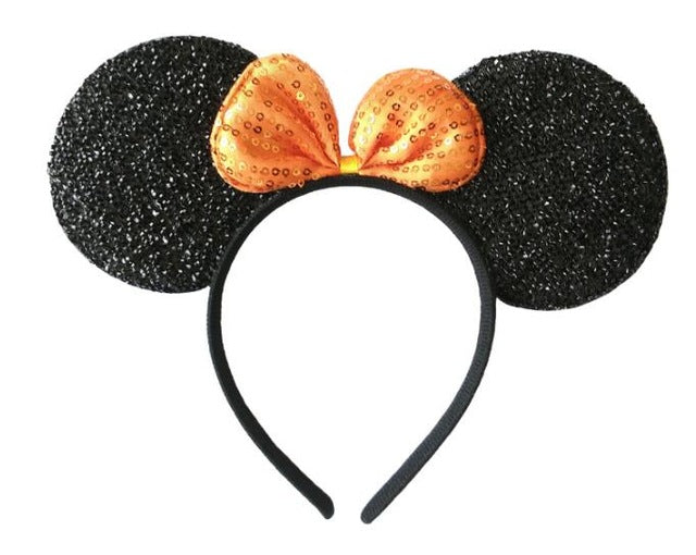 6 pcs Hair Accessories  Minnie/Mickey Ears Solid Black&Bow Headband Boys Girls Headwear for  Birthday Party or Celebrations