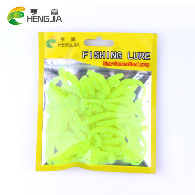 50pcs/Lot Fishing Lures Soft Fishing Tackle Wobblers Artificial Bait Soft Worm Silicone Bait