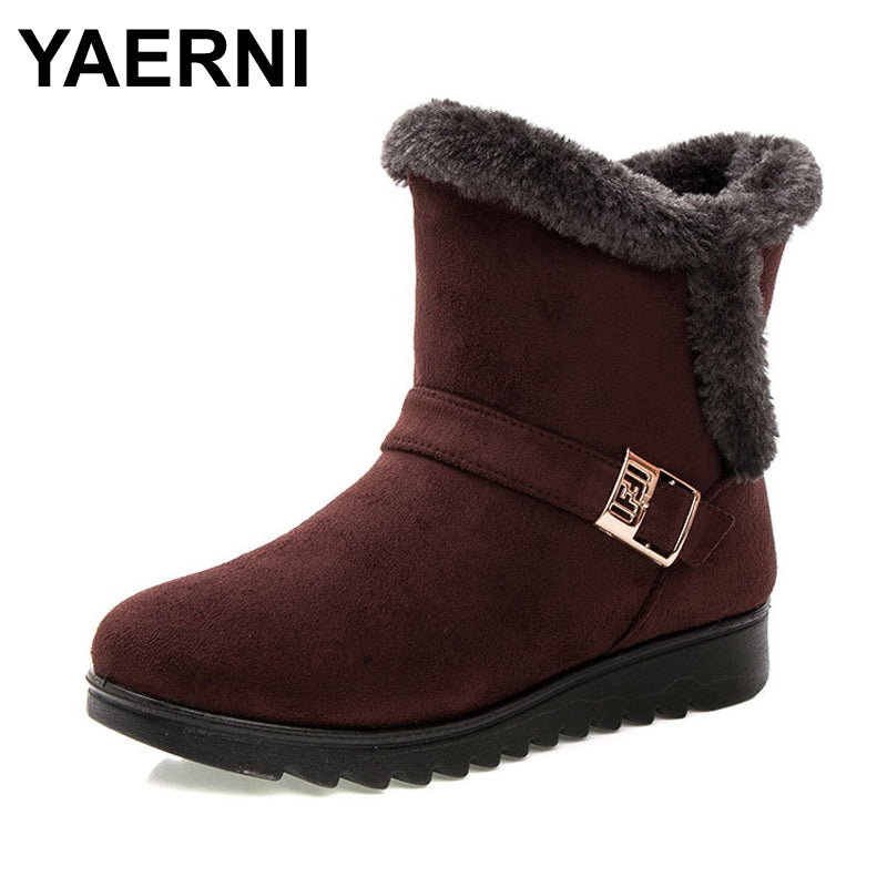 YAERNI Women Boots Fashion Warm Snow Boots Ankle Winter Boots For Women Shoes Black Red Plus Size 41