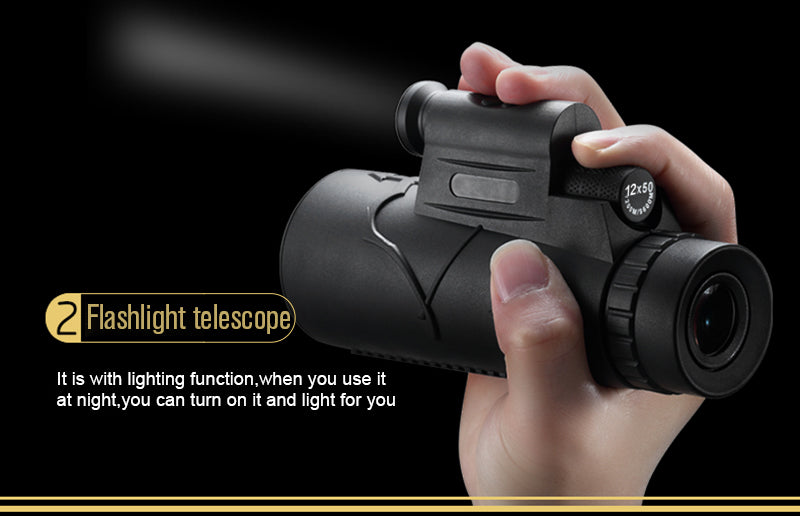 DCQH 12x 4in1 for Phone High Definition Low Llight Night Vision Waterproof Monocular Telescope With Tripod for Camping Hiking