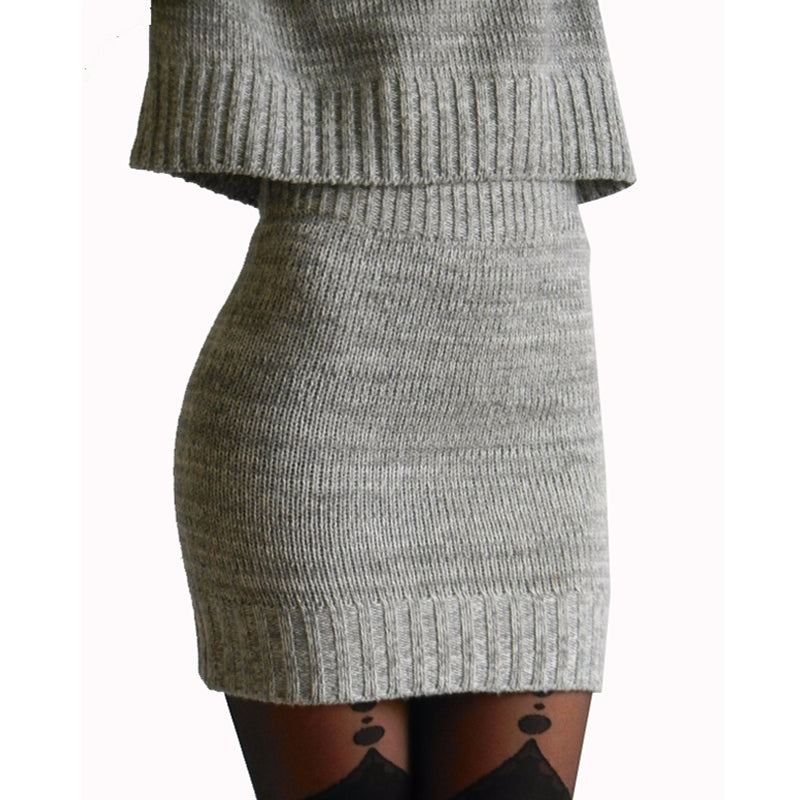 GOPLUS   Winter 2 Pieces Sweater Dress Set Women Long Sleeve Office Wear Casual Gray  Pullover Knitted Dresses Clothing Suit