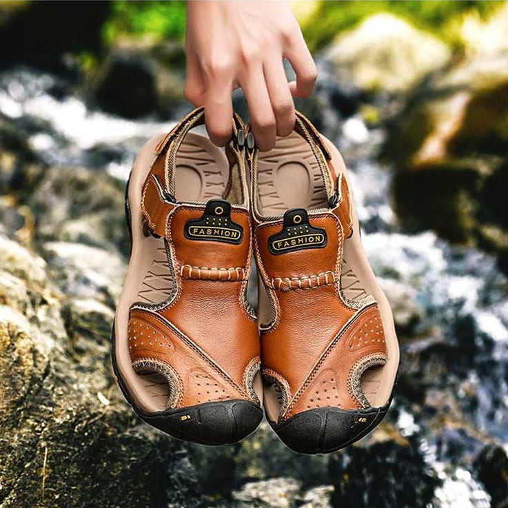 Image of Men's Casual Leather Trekking Beach Sandals - $35.99 - Free Shipping