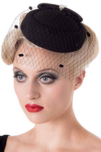 Judy Pillbox Hat - Black - Bowler Vintage