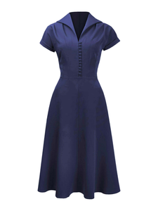 Pretty 40s Hostess Dress - Navy - Bowler Vintage