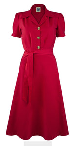40's Shirt Dress - Red - Bowler Vintage