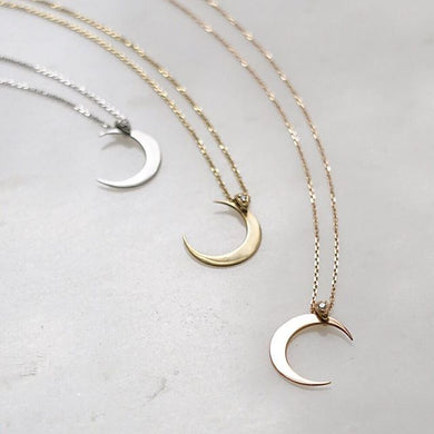 Yellow Gold Moon Necklace