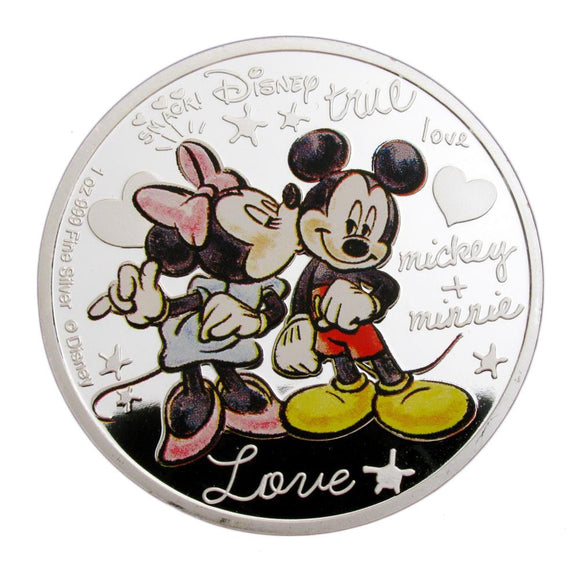 Mickey+Minnie True Love's Kiss Cartoon Colored Silver Coin