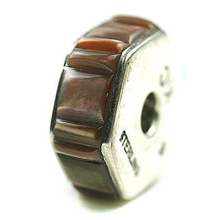 Inlay Hexagon 8 mm X 20 mm Brown Lip Shell