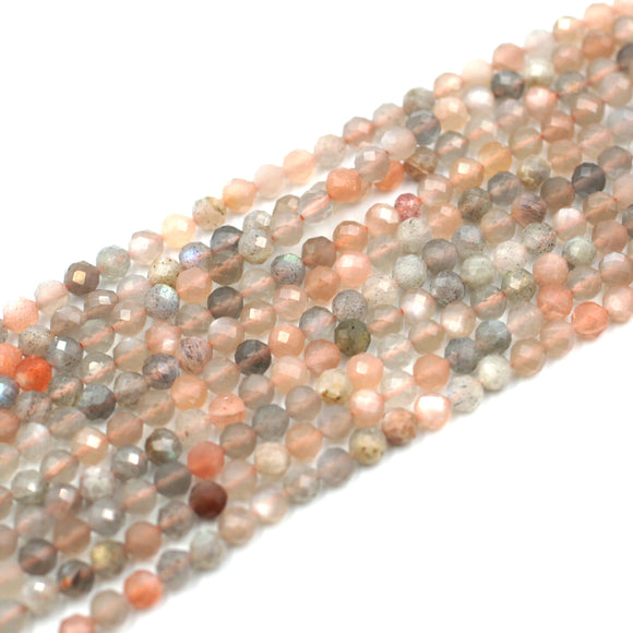 (moonstone001)  4mm Round Faceted Moonstone
