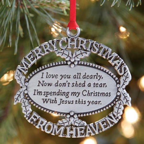 Merry Christmas from Heaven Ornament-Pewter