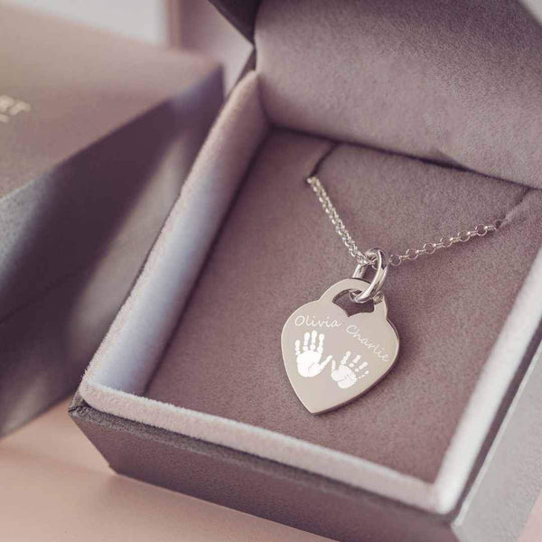 Engraved Handprint Or Footprint Heart Necklace, Two Prints And Two Names