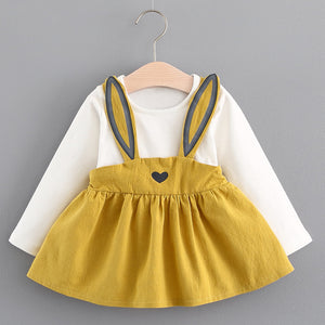 Yellow Long Sleeve Bunny Dress