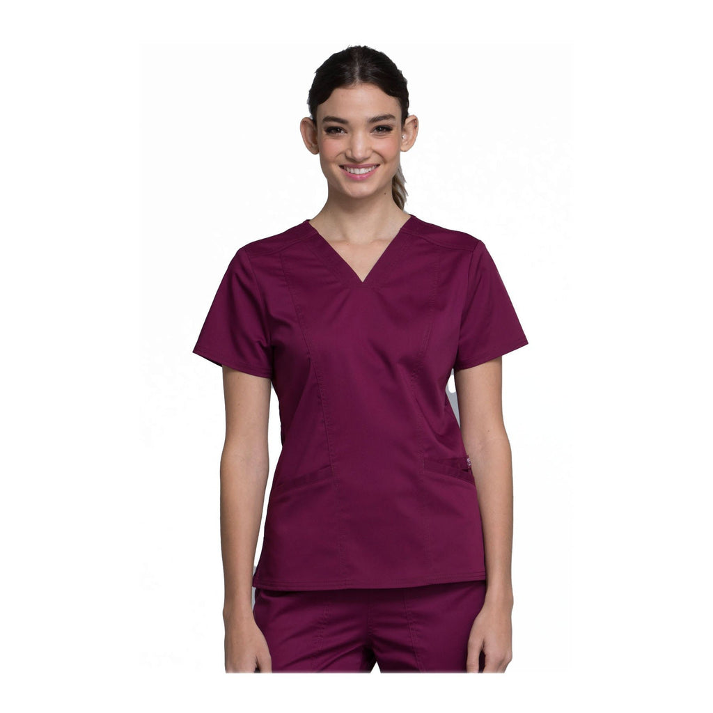 Cherokee Scrubs Workwear WW710 WW Revolution Top Modern Classic Wine Top