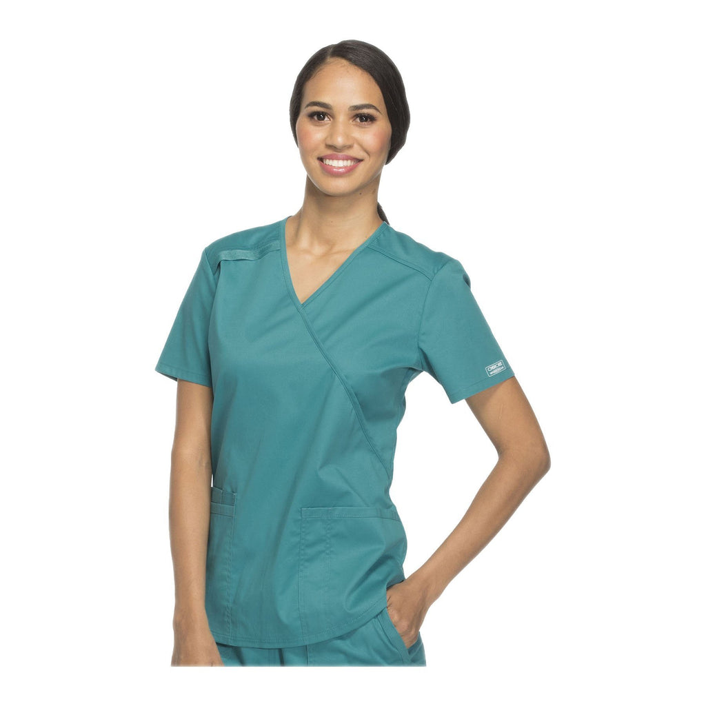 Cherokee Workwear Top WW Core Stretch Mock Wrap Top Teal Top