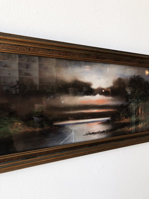 Antique Hand Colored Sunset Lithograph