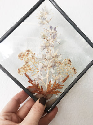 Leaded Glass Pressed Flowers